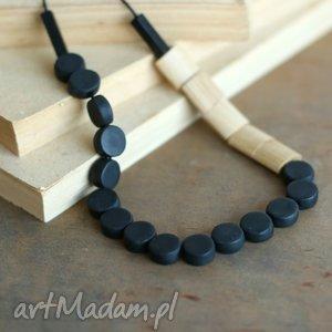 Minimalistyczny naszyjnik z drewna i Fimo, naszyjnik, korale, czarne, drewniane