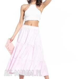 hand-made spódnice spódnica maxi z dwoma falbanami, t339, różowa