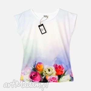 Artystyczna bluzka damska - Pastelowe róże Wysoka jakość!, bluzka, modna,