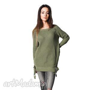 Sweter COMFORT 1 | Khaki, tuniki, bawełna, wiązany, sweter
