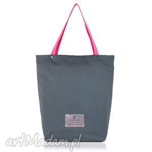 torebka shopperka 898, shopperka, zakupowa, szara, duża, rękodzieło na ramię