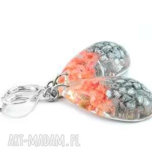 mela art 0834/mela - kolczyki z żywicy - kwiaty, kamienie, kolczyki, łezki