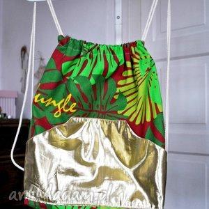 świąteczny prezent, plecak worek, plecak, dżungla, liście, paproć, złoty