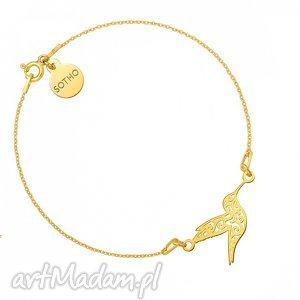 złota bransoletka z ażurowym kolibrem sotho - złote, minimalistyczny