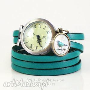 hand-made zegarki bransoletka, zegarek - turkusowy ptaszek morski, skórzany