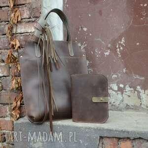 torba skórzana z organizerem skórzanym, torebka frędzlami, torba, skórzana