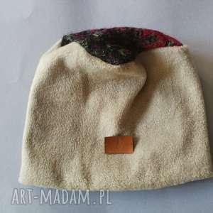 czapka damska ciepła zimowa zielen/bez, czapka, etno, boho, zimowa