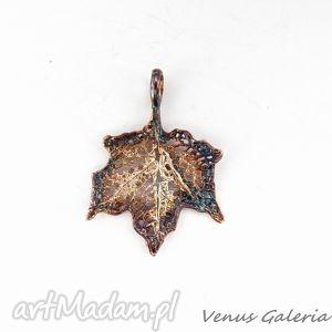 Zawieszka srebrna - Klon mały brązowy, biżuteria, srebro, wisiorek