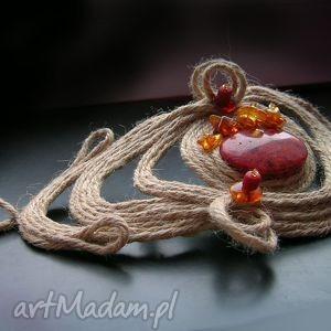 handmade bransoleta z koralem i bursztynem