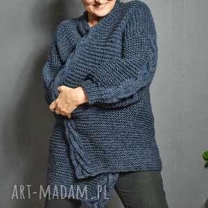 Z warkoczową plisą swetry wooliscool na drutach, ręczna robota