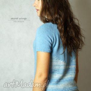 wyjątkowe prezenty, niebieska jedwabna no 2, bluzka, jedwab, moher, dziergana