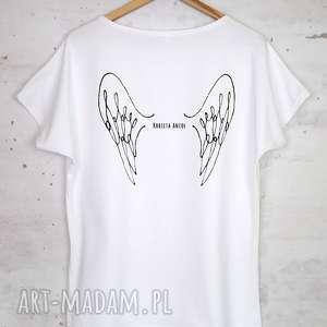 KOBIETA ANIOŁ koszulka bawełniana biała, bluzka, koszulka, bawełna, nadruk, skrzydła