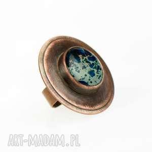 Prezent c519 pierścionek miedziany z jaspisem cesarskim, pierścionek-z-jaspis