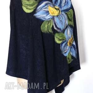 poncho tunika i kwiat ogrodnika, poncho, wełna, mama, tunika, filc, folk