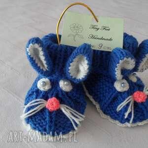 buciki granatowe króliczki, rękodzielo dla dziecka