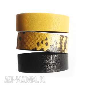 handmade komplet trzech bransolet skórzanych wąż żółty