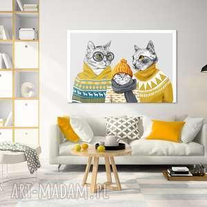 obraz drukowany na płótnie kocia rodzina formacie 120x80cm 02339, koty