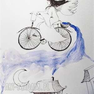 rozsiewając noc praca akwarelą i piórkiem artystki plastyka adriany laube, anioł