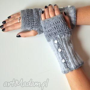 rękawiczki mitenki, rękawiczki, szare