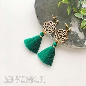 Kolczyki boho ombre - green ilovehandmade z-chwostami, boho