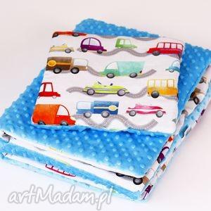 zestaw niemowlaka autka niebieski - zestaw, kocyk, poduszka, autka