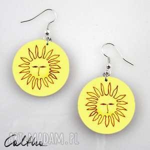kolczyki słońca - kolczyki, klipsy, wiszące, słoneczka, słońce, obrazki