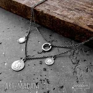 naszyjnik kaskadowy z zawieszkami, monetkami - srebro, podwójny