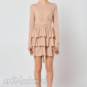 cristina botanika - beżowa sukienka z falbanami, sukienka, falbany, beżowa, jersey