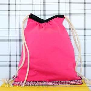 handmade plecaki worek aztec natural malinowy