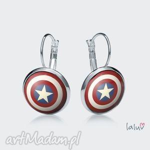 kolczyki wiszące tarcza, superbohaster, komiks, ameryka, flaga, gwiazda