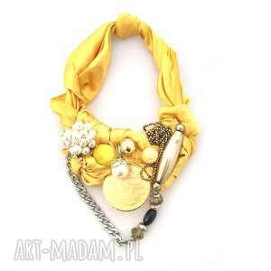 GOLDEN naszyjnik handmade, naszyjnik, kolia, wisior, perły, łancuch