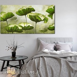 obraz XXL - KWIATY 4 120x70cm na płótnie , obraz, kwiaty, zielone, duży, xxl