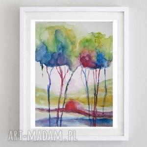 kolorowe drzewa - akwarela formatu