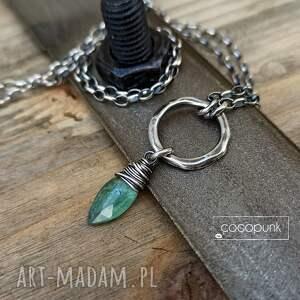 naszyjniki srebro i zielony kianit - naszyjnik z zawieszką, kamieniem