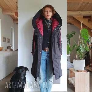 kurtka zimowa z jedwabną arbuzową podszewką podpinką futerkiem, zimowa, ocieplana