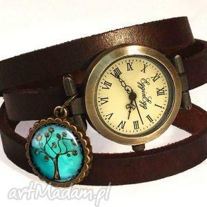 drzewo nadziei - zegarek bransoletka na skórzanym pasku - skórzana