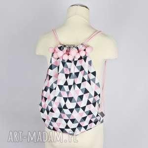 worek/plecak na przybory - różowe trójkąty, worek, plecak, przedszkolak, dziecko