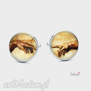 spinki do mankietów stworzenie adama - fresk, męskie, grafika, religia, ręce