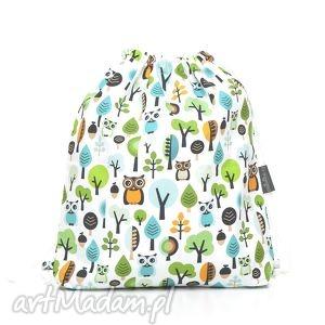 plecak worek przedszkolaka sowy w lesie, mufka, ocieplacz