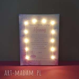 Prezent PAMIĄTKA CHRZTU świecący obraz LED modlitwa aniołek prezent od chrzestnego na