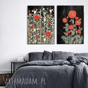 Zestaw 2 prac A3, maki, mak, łąka, kwiaty, obraz, plakat