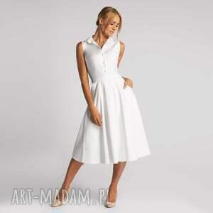 sukienka tara total midi biel 100 bawełna, bawełniana sukienka