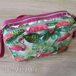 torebki niezwykle dwupak - flamingi na palmach, flaming, elegancka, nowoczesna