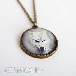 naszyjniki medalion, naszyjnik - biały wilk antyczny brąz, naszyjnik, wisiorek