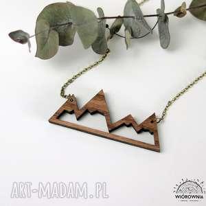 Drewniany naszyjnik - GÓRY, naturalny, wisiorek,