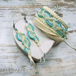 komplet biżuterii w stylu boho - lazuowy błękit beże, makrama, koraliki, lato