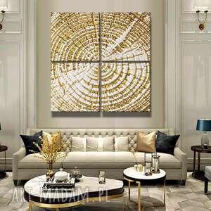 tree rings -ogromny obraz 4-częściowy - dekoracja na duże powierzchnie