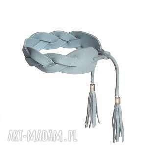 ręczne wykonanie bransoletka skórzana błękitna braid