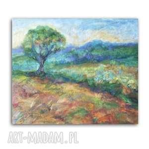 pejzaż obraz olejny, drzewo na płótnie, ręcznie malowany, olej płótno