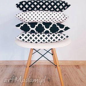 komplet poduszek skandynawski styl - poduszki, 40x40, skandynawskie, skandynawska, czarna
